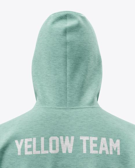 Melange Men's Full-Zip Hoodie Mockup (Back View)