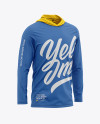 Men's Hooded Long Sleeve T-shirt Mockup - Front Half-Side View