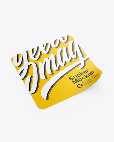 Square Sticker Mockup In Stationery Mockups On Yellow Images
