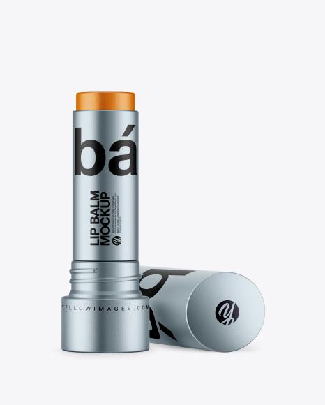 Metallic Lip Balm Tube Mockup