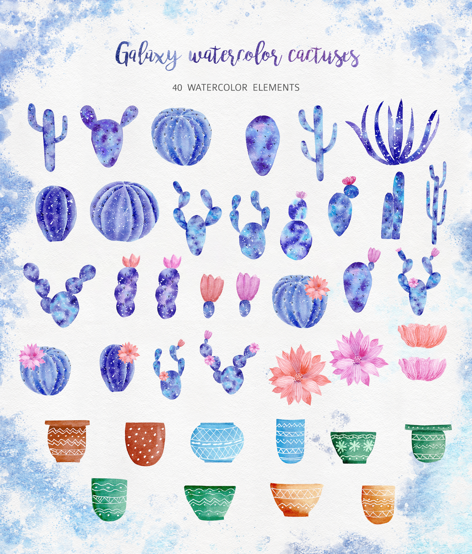 Watercolor Galaxy Cactus Collection