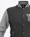 Heather Varsity Jacket Mockup - Front View