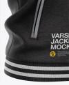 Heather Varsity Jacket Mockup - Front Half-SideView - Baseball Bomber Jacket