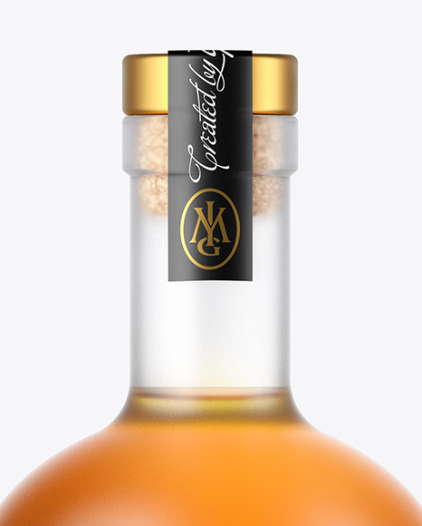 Frosted Glass Whisky Bottle Mockup