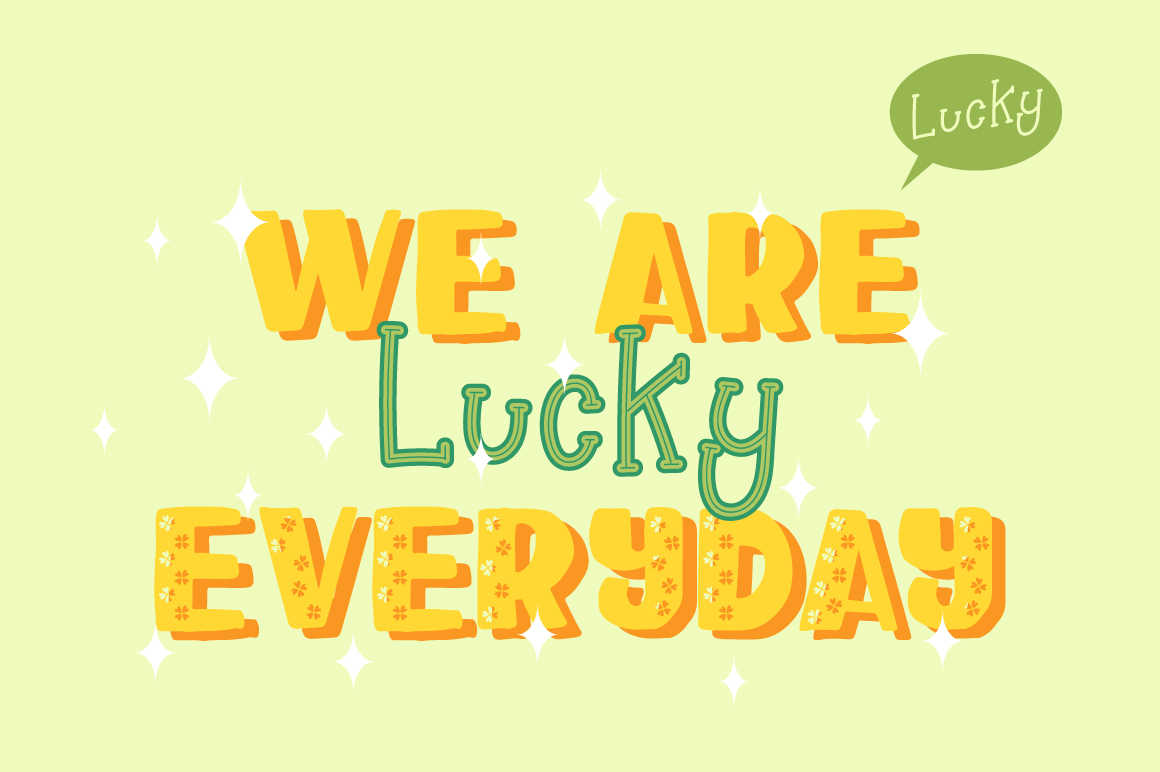 Happy Clover Font Duo + Doodles