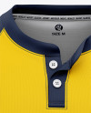 Men's Henley Jersey Mockup - Front View Of T-Shirt