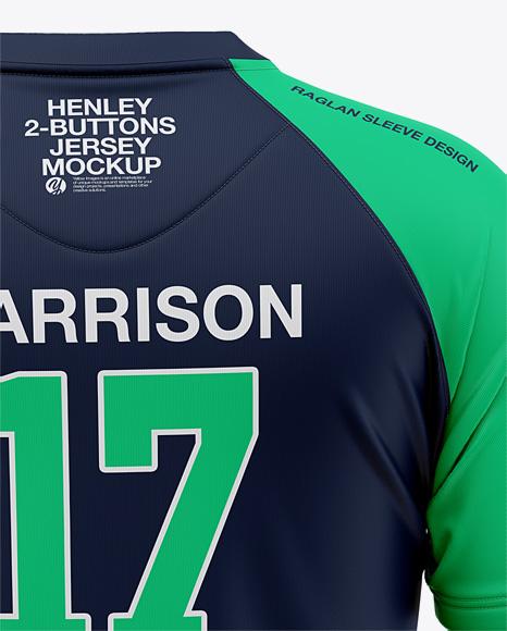 Men's Henley Jersey Mockup - Back View Of T-Shirt