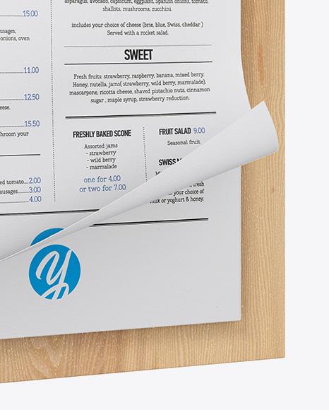 Menu w/ Textured Papers Mockup