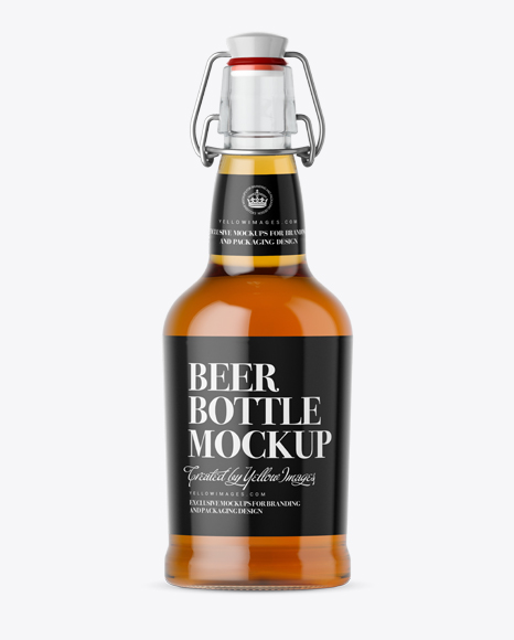 Clear Glass Beugle Bottle w/ Beer Mockup - Front View