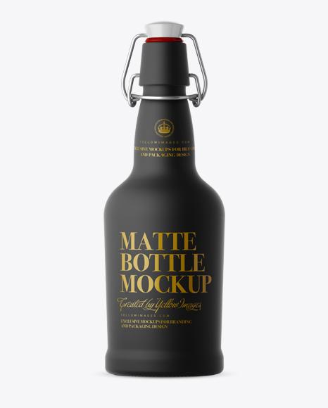 Black Matte Beugel Bottle Mockup - Front View