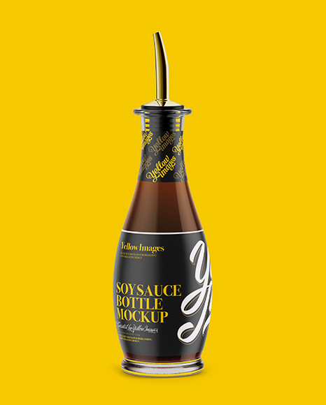 Light Soy Sauce Glass Bottle Mockup