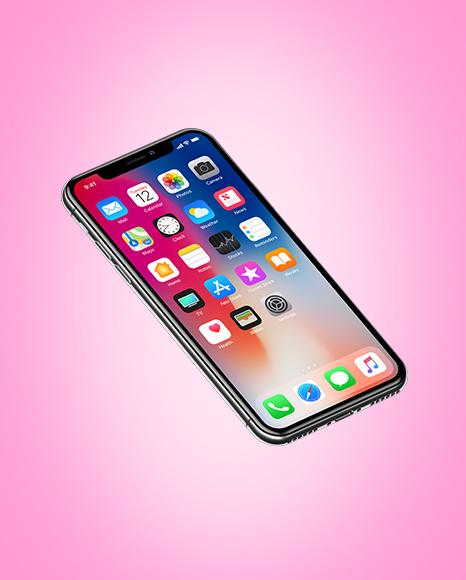 Isometric Apple iPhone X Mockup