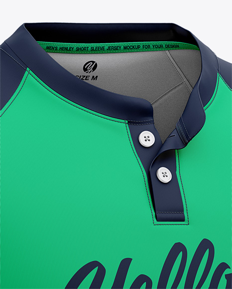 Men's Henley Neck Tow-Buttons Jersey Mockup - Front Half Side View