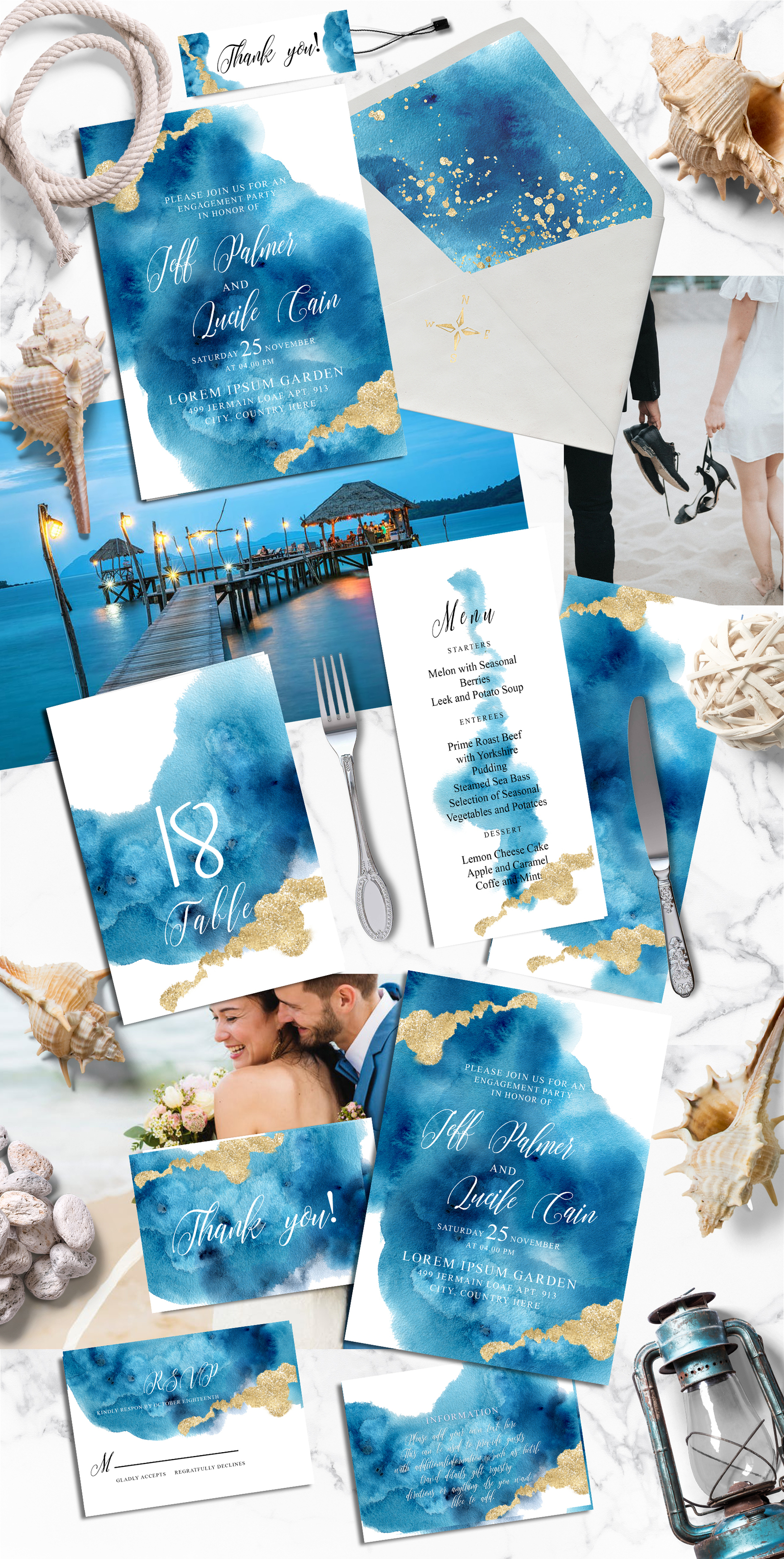 Ocean wedding invitations suit