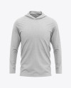 Men's Heather Long Sleeve Hooded T-shirt Mockup - Front View