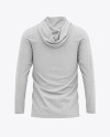 Men's Heather Long Sleeve Hooded T-shirt Mockup - Back View
