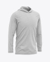 Men's Heather Long Sleeve Hooded T-shirt Mockup - Front Half-Side View