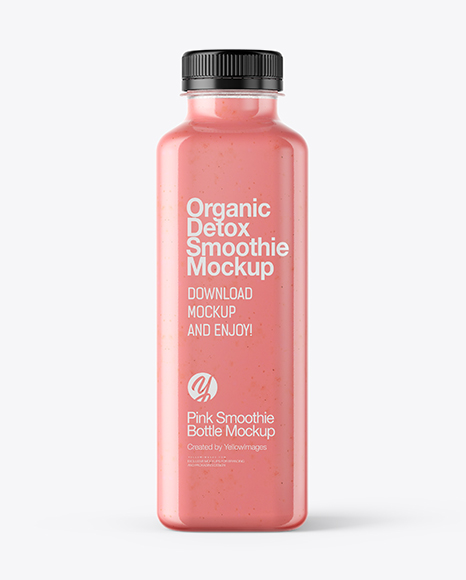Square Strawberry Smoothie Bottle Mockup