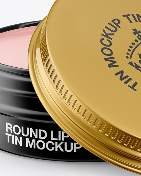 Opened Glossy Lip Balm Tin Mockup