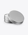 Opened Metallic Lip Balm Tin Mockup