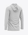 Men's Heather Long Sleeve Hooded T-shirt Mockup - Back Half-Side View