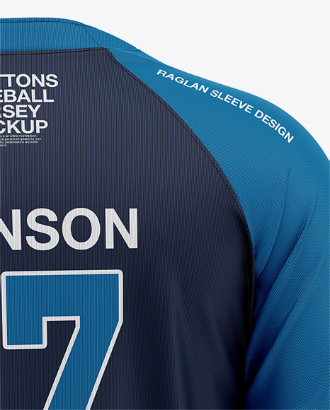 Men's Two-Buttons Baseball Jersey Mockup - Back View
