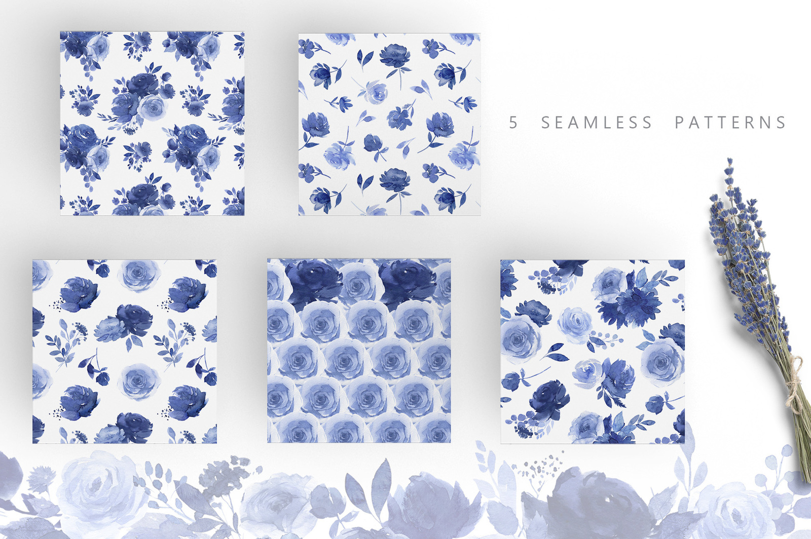 Watercolor Blue Flower Collection