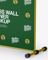 Press Wall Banner with Metallic Frame Mockup