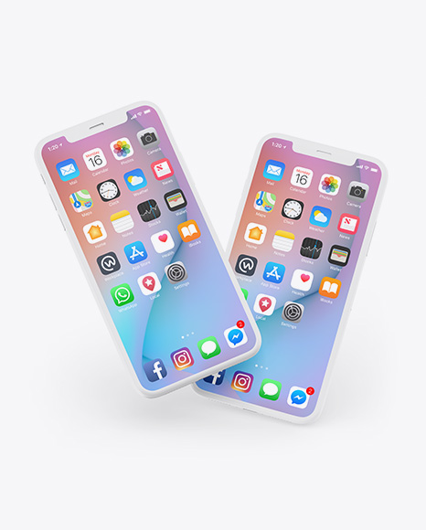 Two Clay Apple iPhones X Mockup