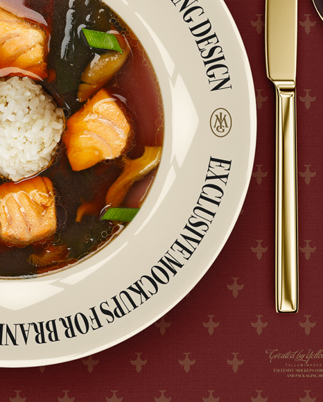 Plate with Salmon Miso Soup and Cutlery Mockup - Top View