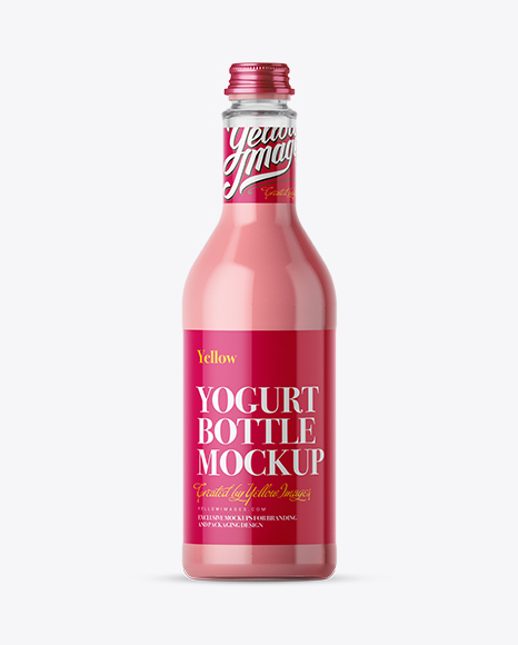 500ml Strawberry Yoghurt Bottle Mockup