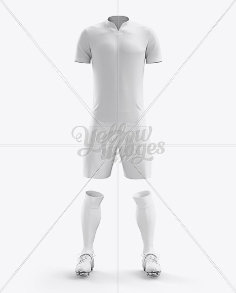 Men's Full Soccer Kit with V-Neck Shirt Mockup (Front View)