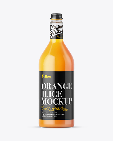 1L Orange Juice Glass Bottle Mockup