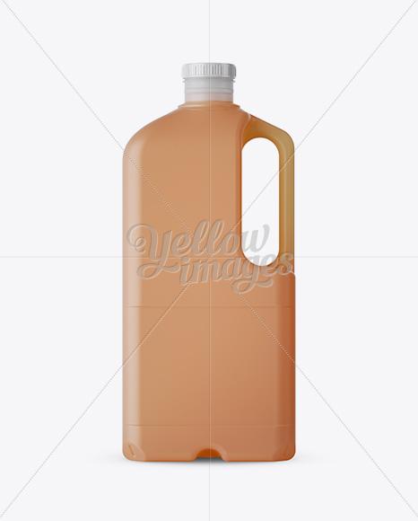 2L Frosted Plastic Juice Jug Mockup - Side View