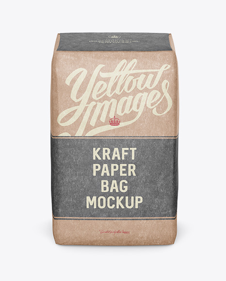 Kraft Paper Bag Mockup - Front View (High-Angle Shot)