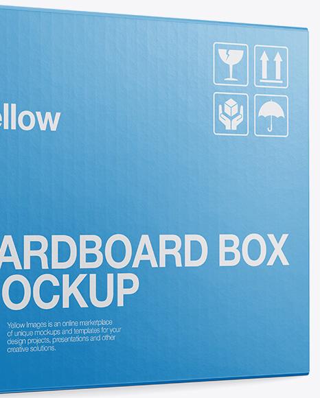 Cardboard Box Mockup - Half Side View