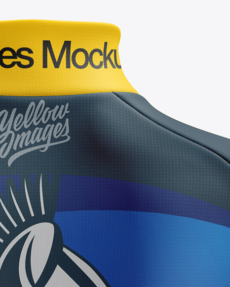 Women's Cycling Thermal Jersey LS mockup (Back View)