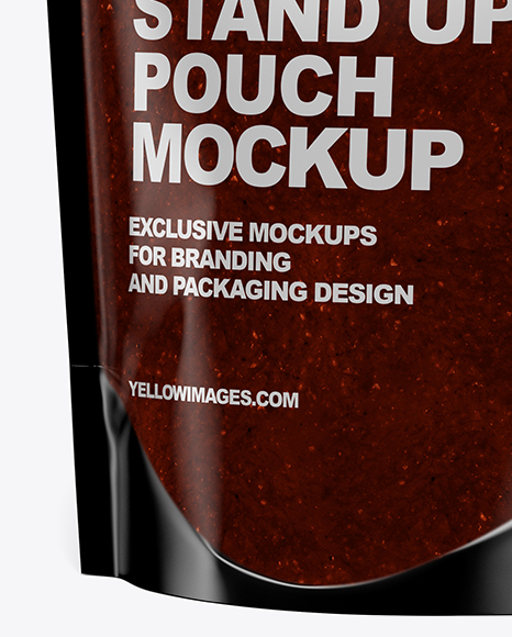 Glossy Transparent Stand-Up Pouch w/ BBQ Sauce Mockup