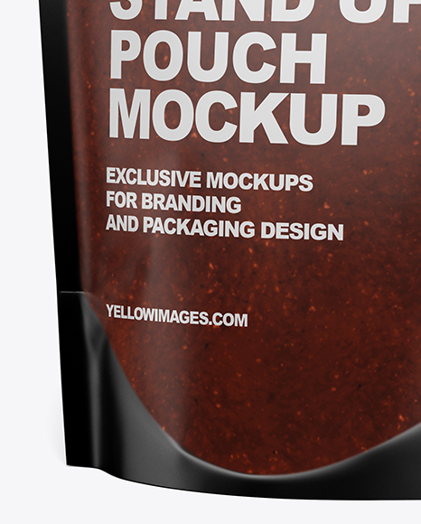 Matte Transparent Stand-Up Pouch w/ BBQ Sauce Mockup