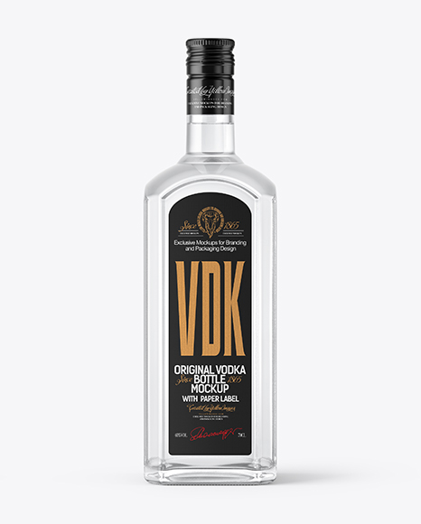 Glass Vodka Bottle Mockup