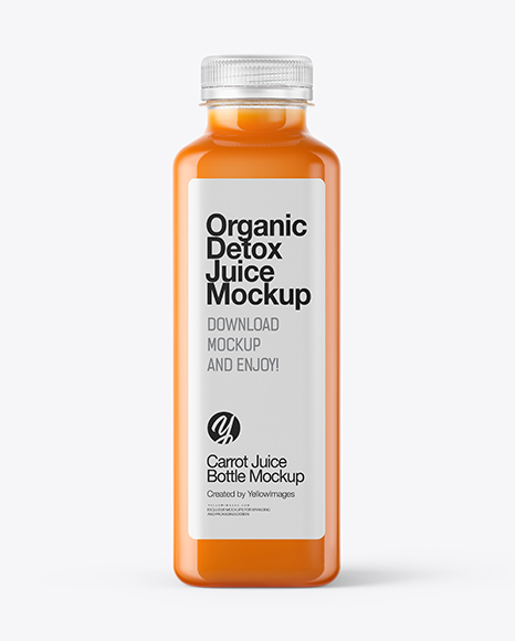 Square Carrot Juice Bottle Mockup