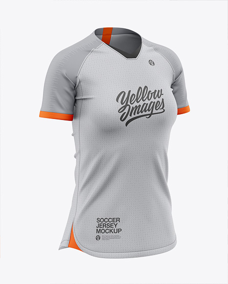 Women's Soccer Jersey Mockup - Front Half-Side View