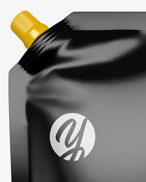 Glossy Plastic Sauce Bottle With Spout Cap Mockup