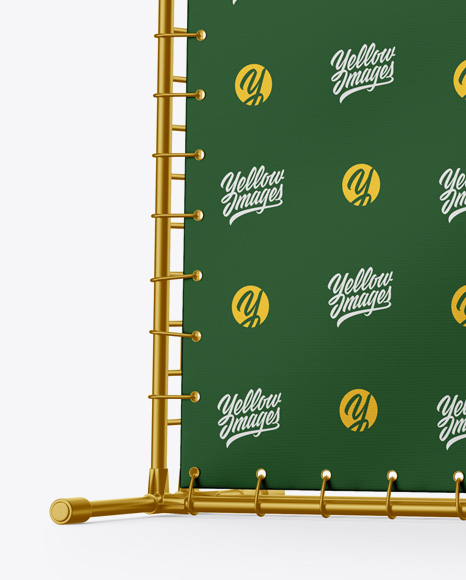 Press Wall Banner w/ Metallic Frame Mockup