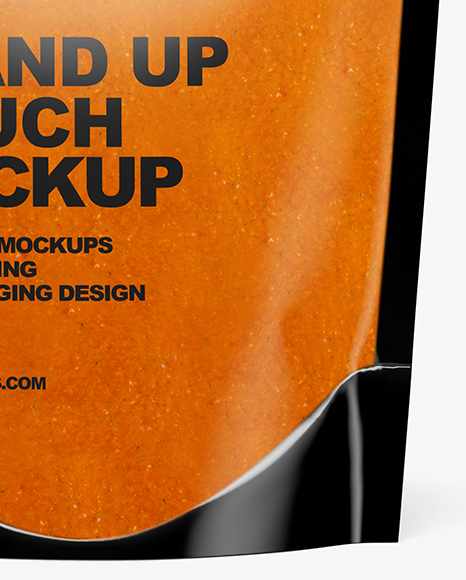Glossy Transparent Stand-Up Pouch w/ Curry Sauce Mockup