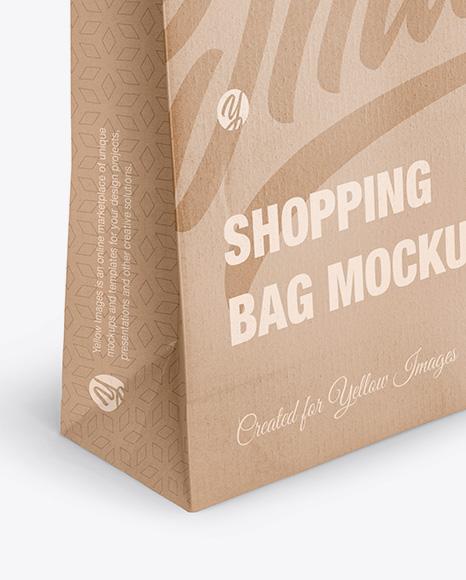 Kraft Glossy Shopping Bag With Rope Handle Mockup Halfside View High Angle Shot