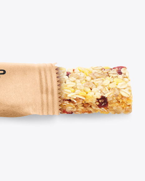 Opened Kraft Snack Bar Mockup