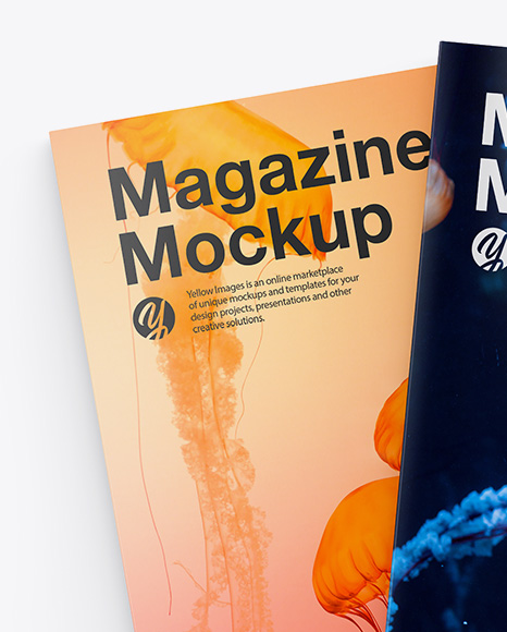 Download A4 Magazines Mockup In Stationery Mockups On Yellow Images Object Mockups PSD Mockup Templates