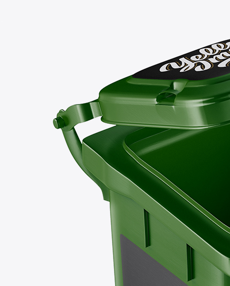 Textured Plastic Rubbish Bin Mockup - Half Side View