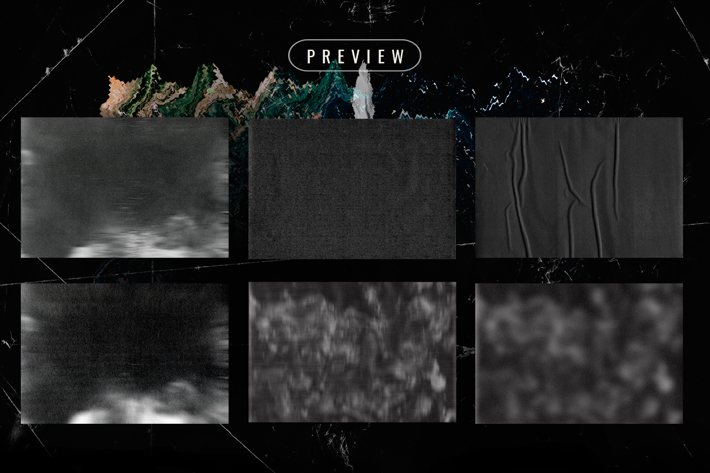Black paper textures vhs pack